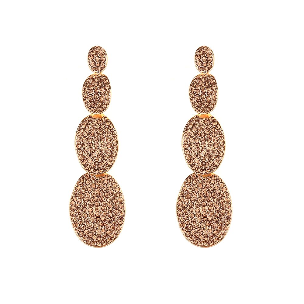 Gold Jewelled Four Tier Statement Earrings
