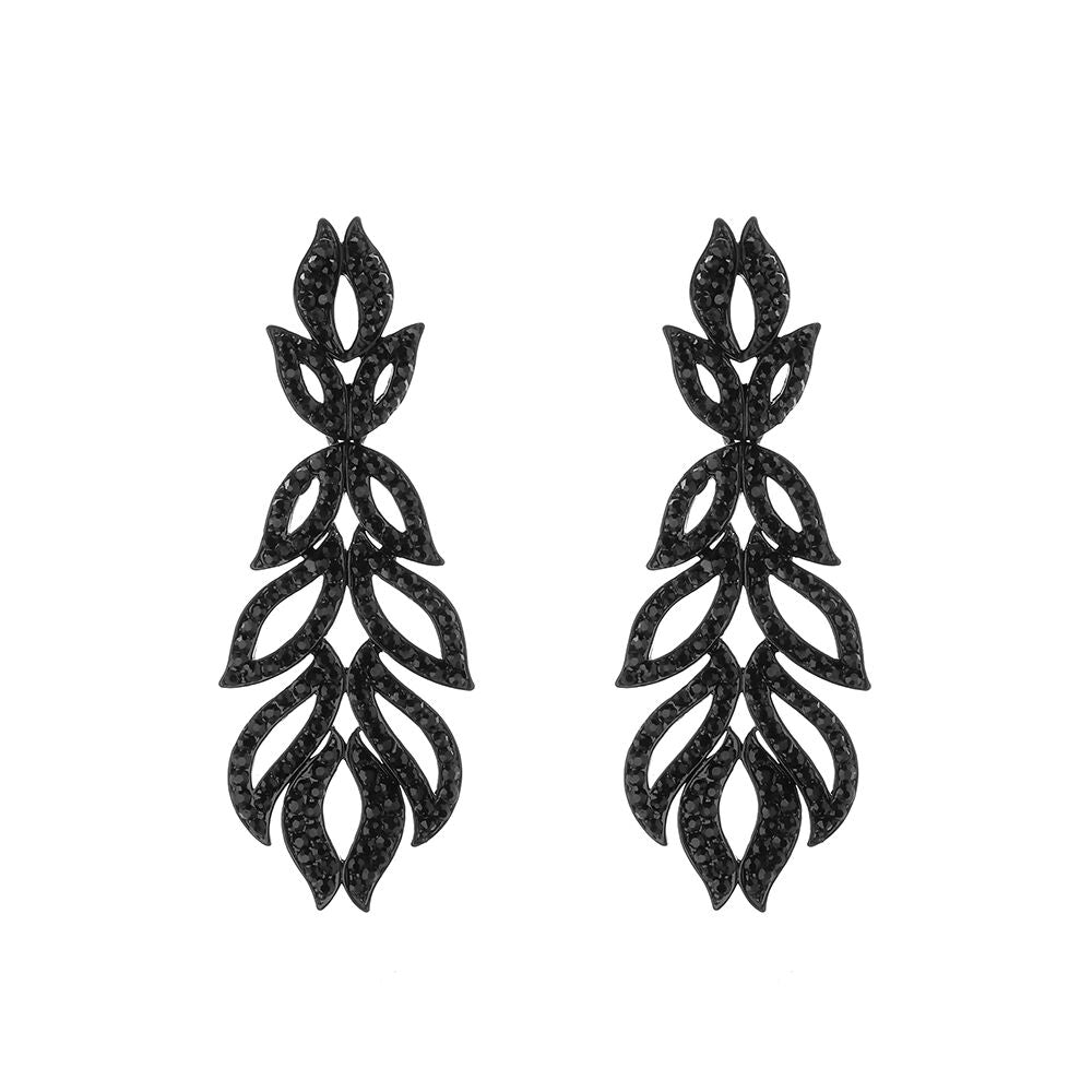 Black Jewelled Drop Statement Earrings