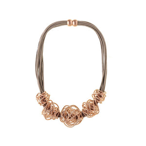 Rose Gold and Taupe Magnetic Statement Necklace