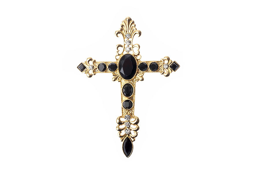 Black and Gold Baroque Style Crucifix Brooch