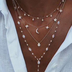 Gold Crystal Layered Moon and Stars Necklace