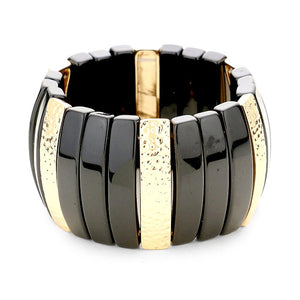 Black and Gold Stretch Bracelet
