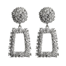 Load image into Gallery viewer, Silver Textured Geometric Earrings