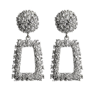 Silver Textured Geometric Earrings