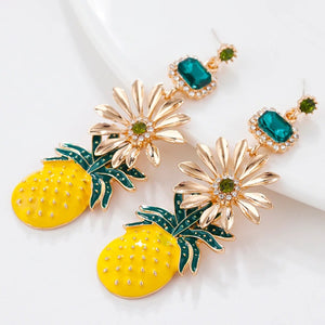Yellow and Green Pineapple Drop Earrings