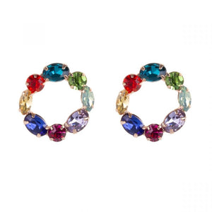Multi Coloured Rhinestone Stud Earrings