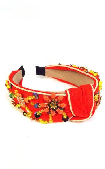 Red Floral Beaded Knot Headband