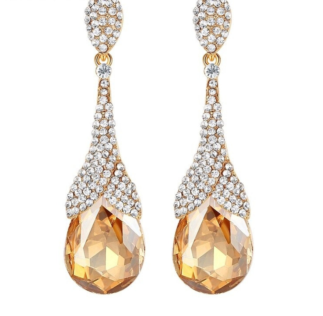 Champagne and Crystal Drop Prom Earrings