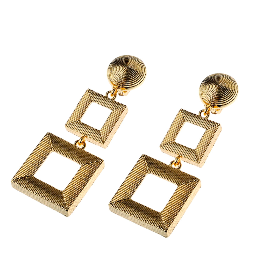 Clip On Gold Square Drop Earrings