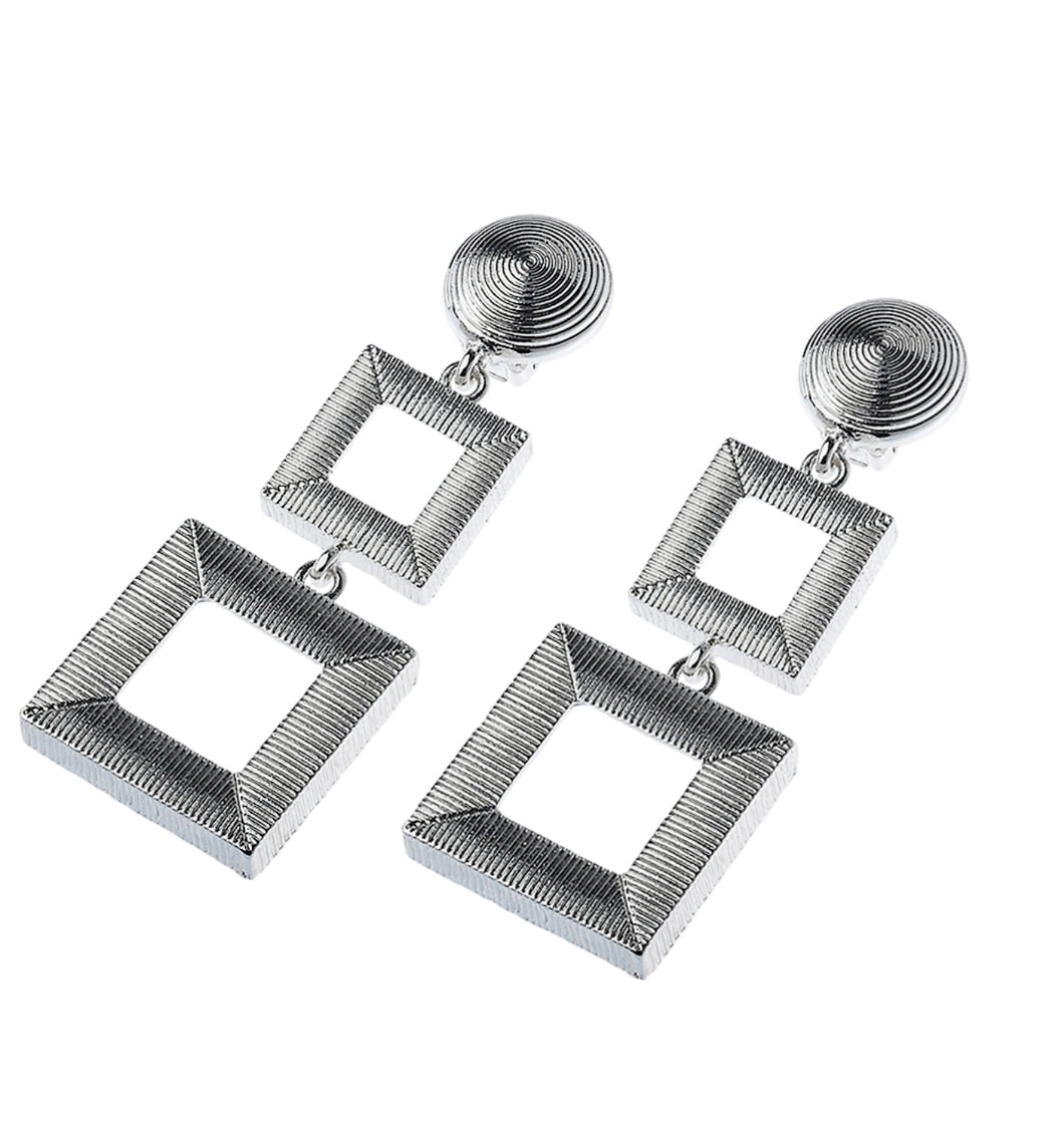 Clip On Silver Three Tier Square Drop Earrings