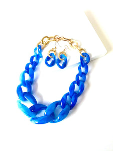 Chunky Cobalt Blue Acrylic Chain Necklace and Earrings Set