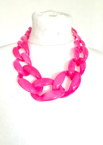 Chunky Pink Acrylic Chain Necklace and Earrings Set