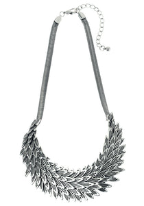 Silver Feather Metal Statement Necklace