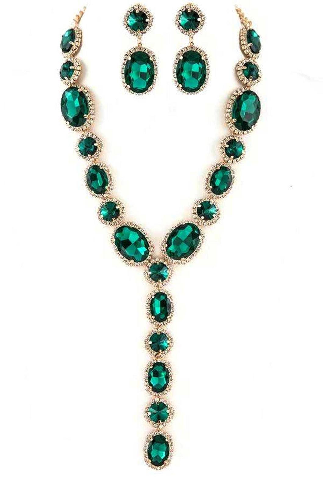 Emerald Green and Crystal  Statement Necklace and Earrings Set