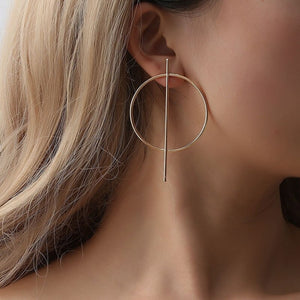 Gold Circle and Stick Earrings