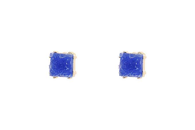 Blue Druzy Style Stud Earrings