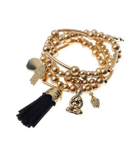 Gold Stretch Charm Tassel Bracelet set