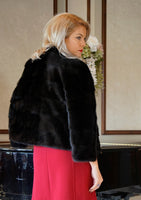 JACKET NATURAL FUR BLACK COLOR