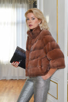 JACKET NATURAL FUR BORDEAUX COLOR