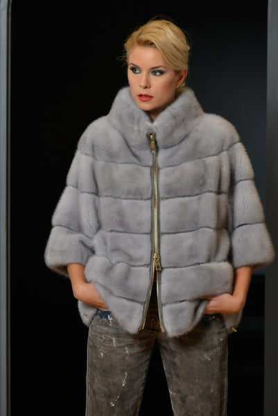 JACKET BOMBER NATURAL FUR LIGHT GREY COLOR