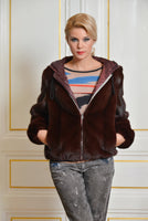 JACKET BOMBER NATURAL FUR BORDEAUX COLOR