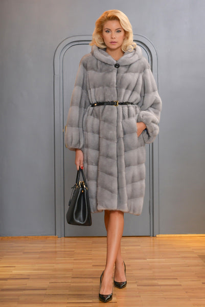 FUR COAT SILVER GREY WITH HOOD