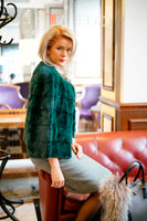 JACKET NATURAL FUR GREEN COLOR