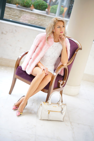 JACKET NATURAL FUR PINK COLOR