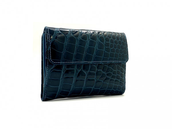 SQUARE WALLET SHINY OIL BLUE CROCODILE