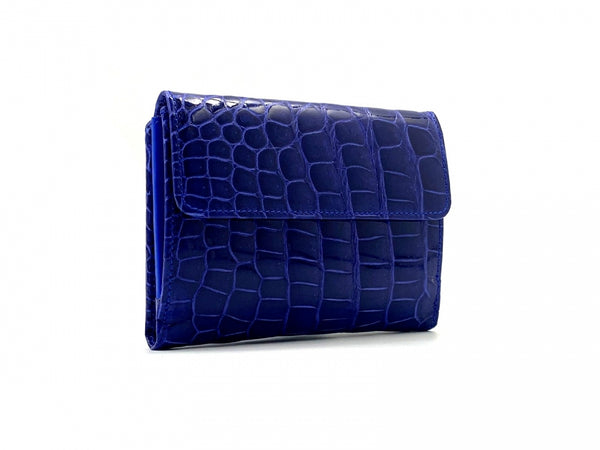 SQUARE WALLET SHINY BLUETTE CROCODILE