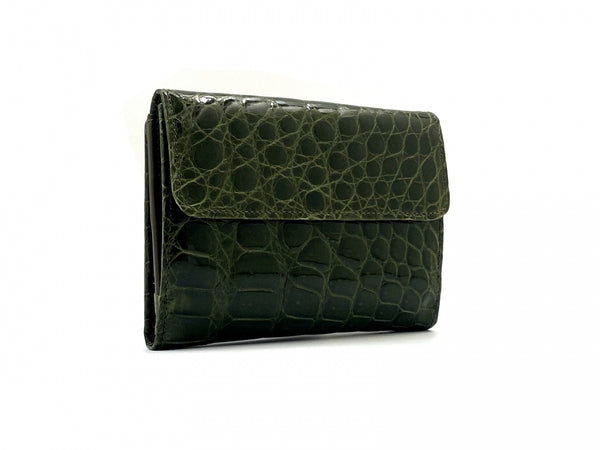 SQUARE WALLET SHINY OLIVE CROCODILE