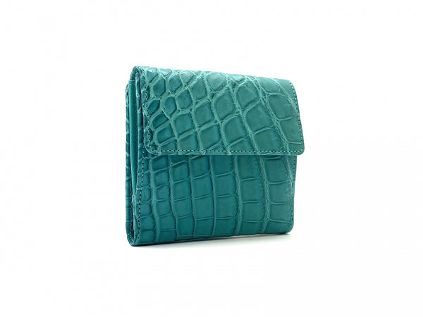 SQUARE WALLET TURQUOISE CROCODILE