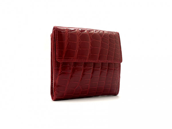 SQUARE WALLET SHINY RED CROCODILE