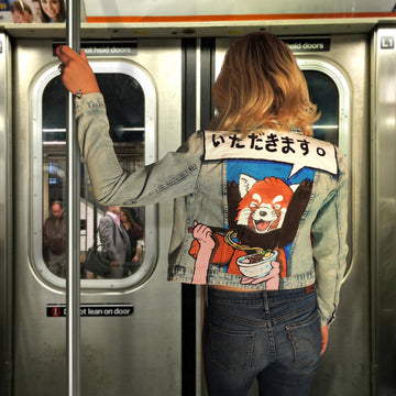 custom red panda hand painted jacket