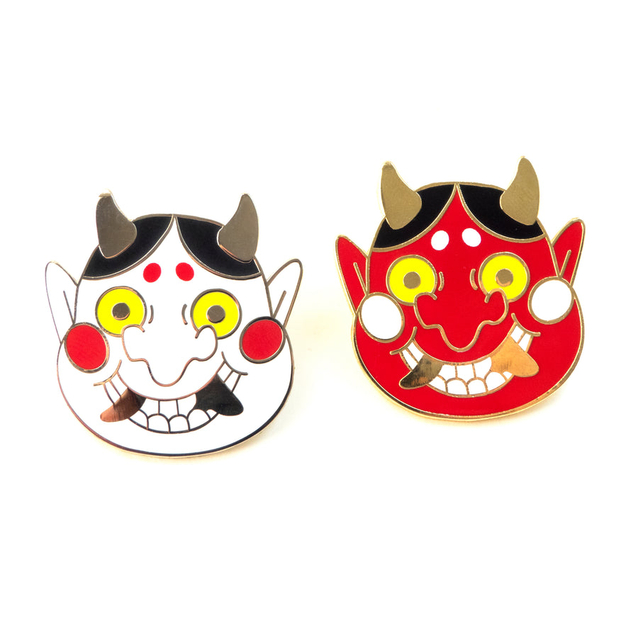 red and white oni pin