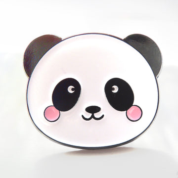 black and white baby panda with pink cheeks enamel pin