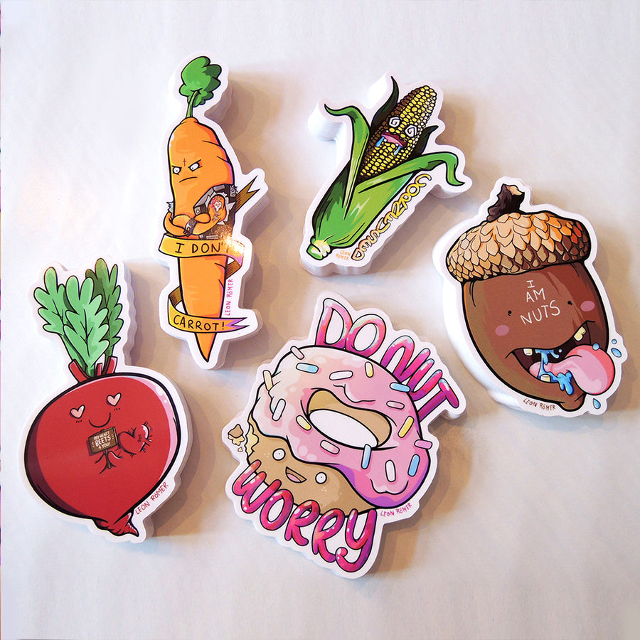 food pun sticker set