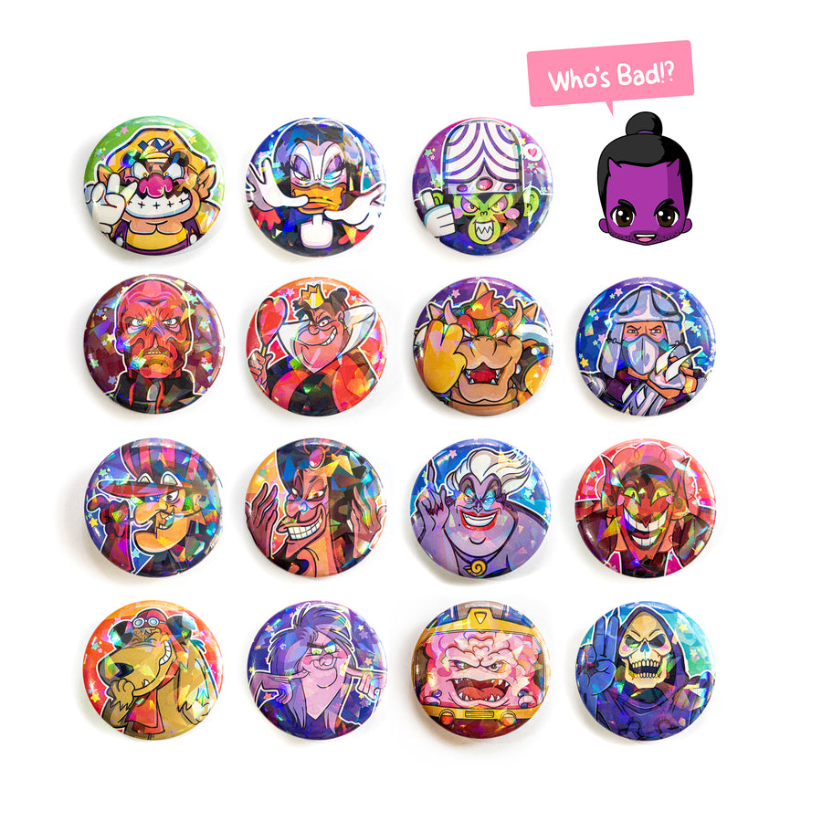 kawaii villain button collection