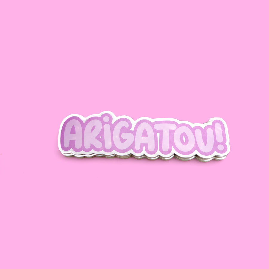 purple arigatou reflective japanese vinyl sticker