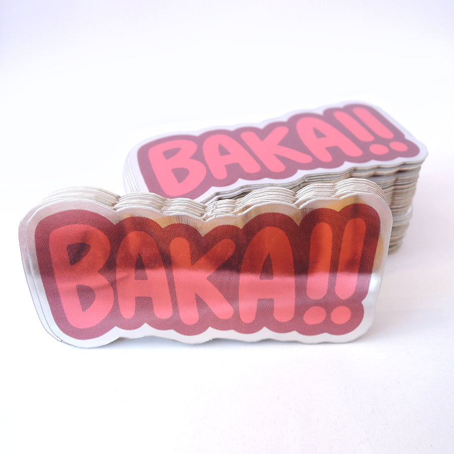baka red reflective japanese vinyl sticker set