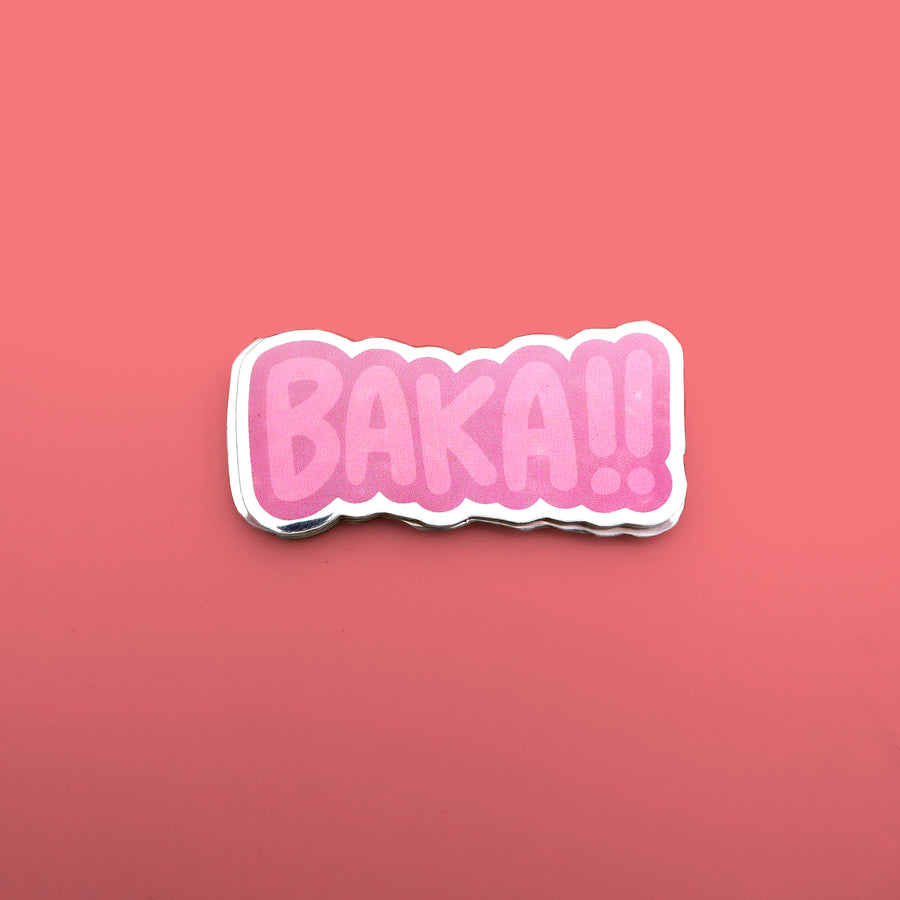 baka red reflective japanese vinyl sticker
