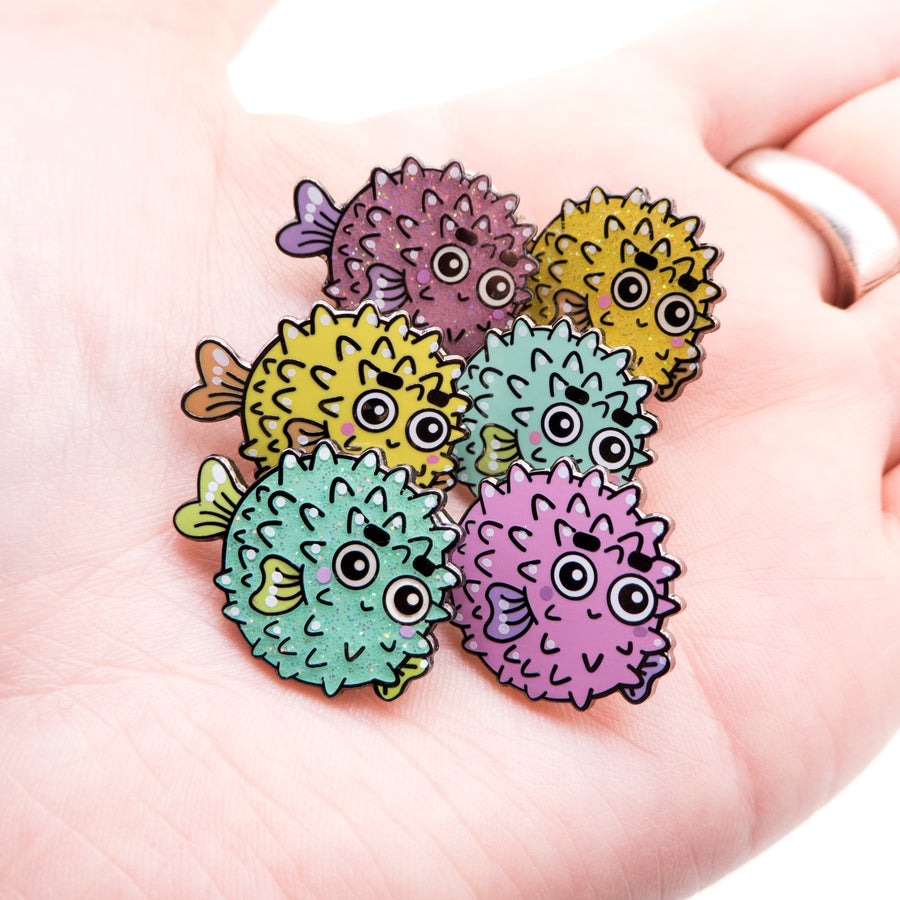blowfish glitter pin set