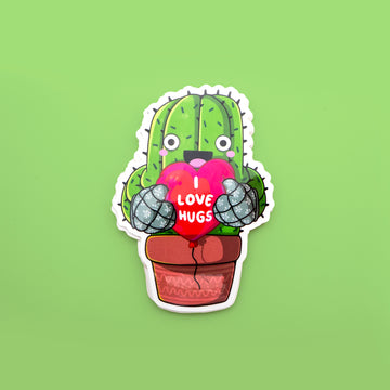 green cactu ssticker holding a heart shasped balloon saying: I love hugs