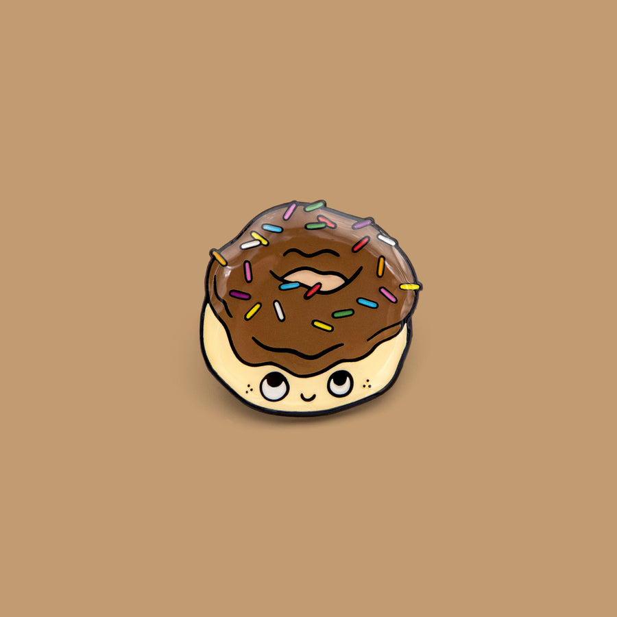 brown sprinkle donut lapel pin