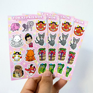 kawaii japanese monster vinyl sticker sheet