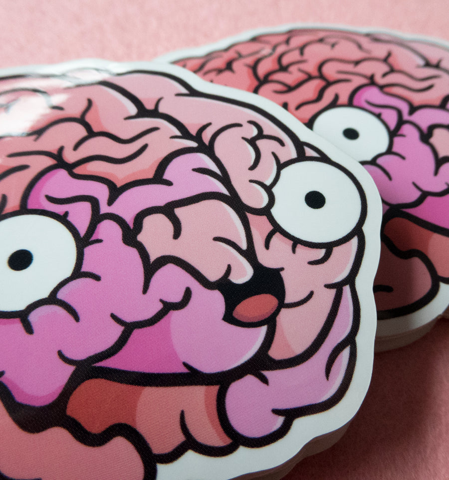 close up human brain sticker