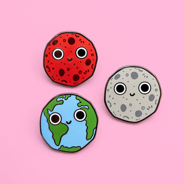 hard enamel space planet pins