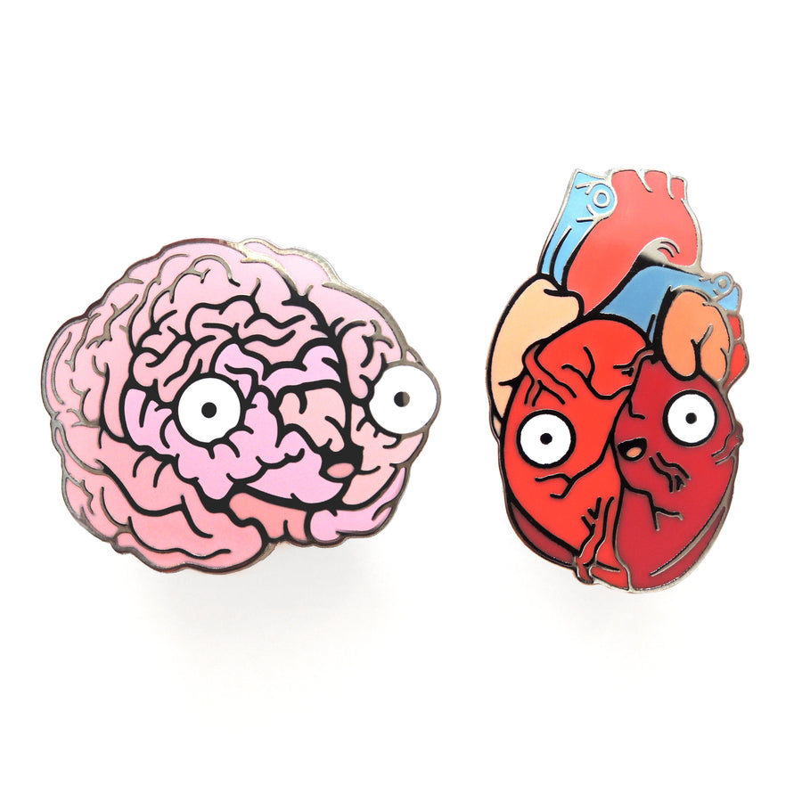 brain and heart pin set