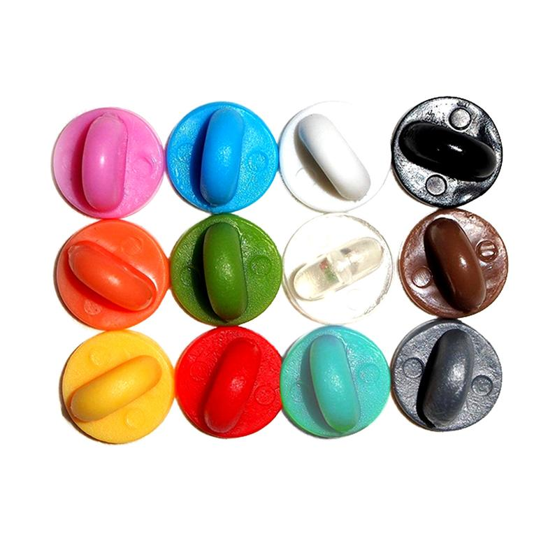 rubber pin backs in all colors