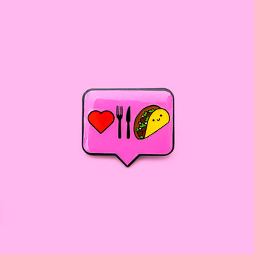 pink i love taco lapel pin with epoxy finish